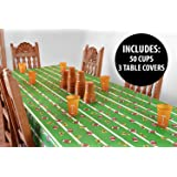 KOVOT Football Style Party Table Supplies (3 Tablecloths + 50 Cups)