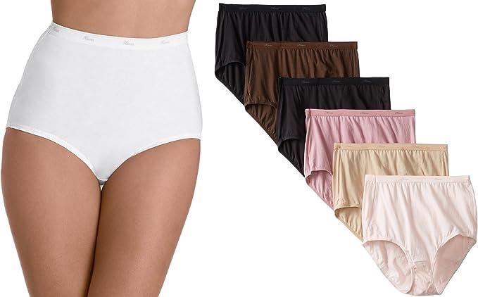 Hanes - Pack de 6 bragas de algodón surtidas para mujer: Amazon.es: Ropa y accesorios