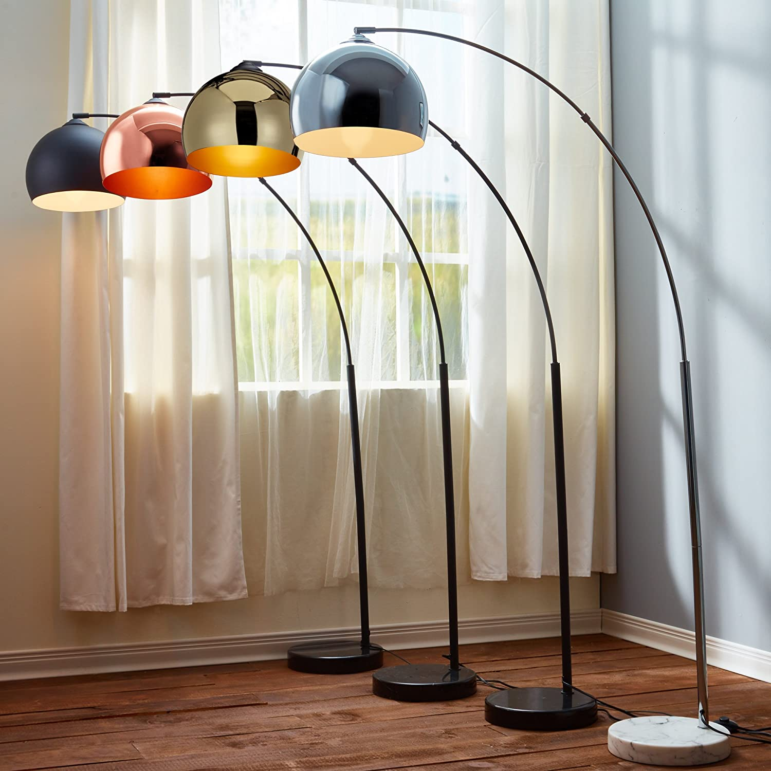 Versanora VN-L00011 Arquer Modern Arc Floor Lamp 67 inch Tall Standing Hanging Light with Rose Gold Finished Shade and Black Marble Base for Living Room Reading Bedroom Office Gold