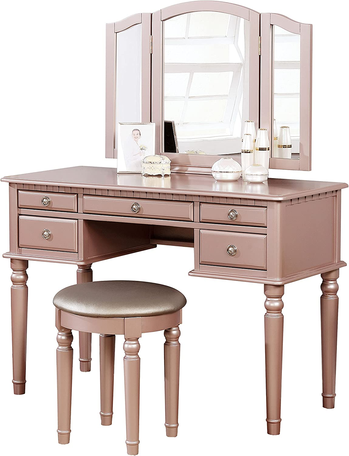 BOBKONA PDEX- Croix Collection Vanity Set With Stool, Rose Gold