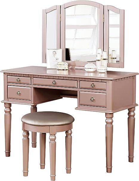 Amazon Com Bobkona Pdex Croix Collection Vanity Set With Stool Rose Gold Furniture Decor