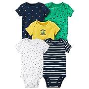Carter's Carters' Baby Boys 5 Pack Bodysuit Set, Captain Adorable, Newborn