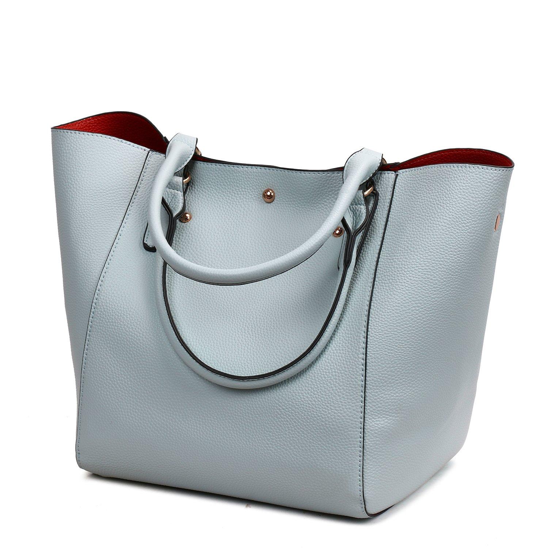 Nikauto Sac fourre-tout en cuir porte-monnaie sac à main sacs à main grande épaule sac de travail haut pour les femmes dames filles un ensemble de deux