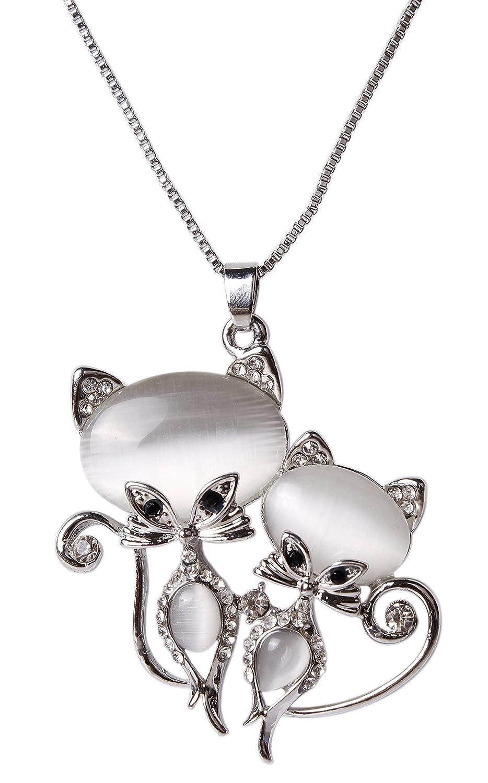 487c07db8 Indian Petals Designer Fancy Stylish Swarovski-Like Diamonds Rhinestone  Studded Twin Kitty Design Fashion Jewellery Pendent with Long Chain for  Ladies Women ...