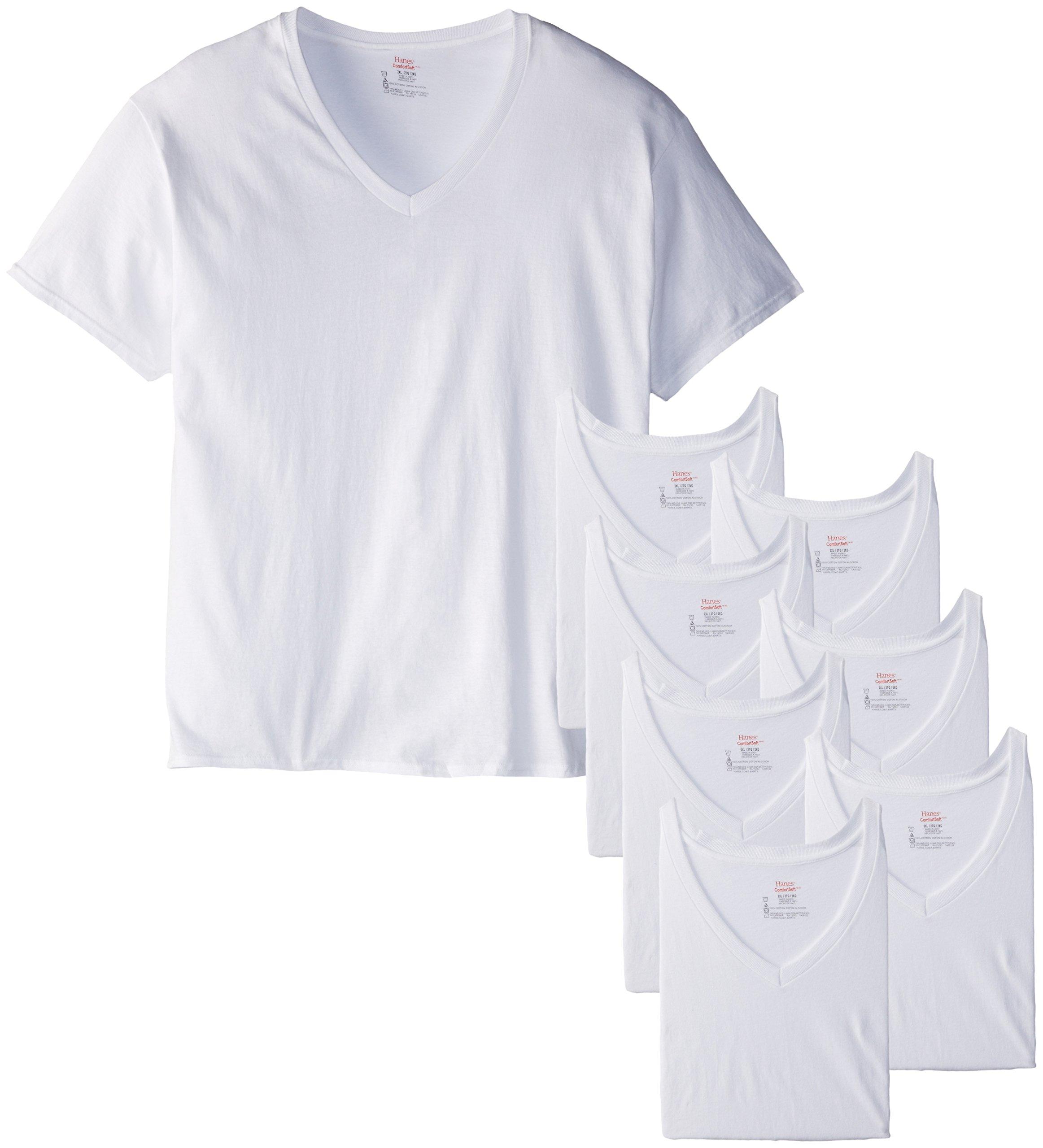 Hanes Men's 8-Pack Big V-Shirt, White, XX-Large
