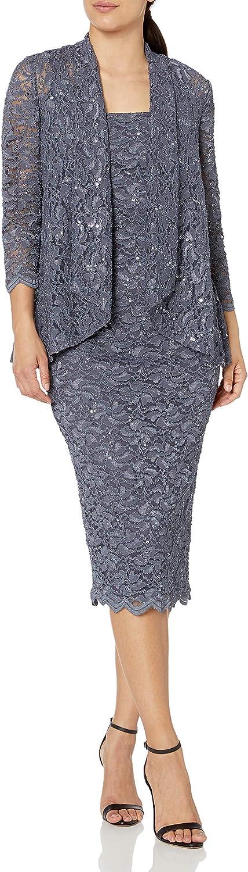 Alex Evenings Women's Tea Length Dress with Blazer Jacket (Petite and Regular)