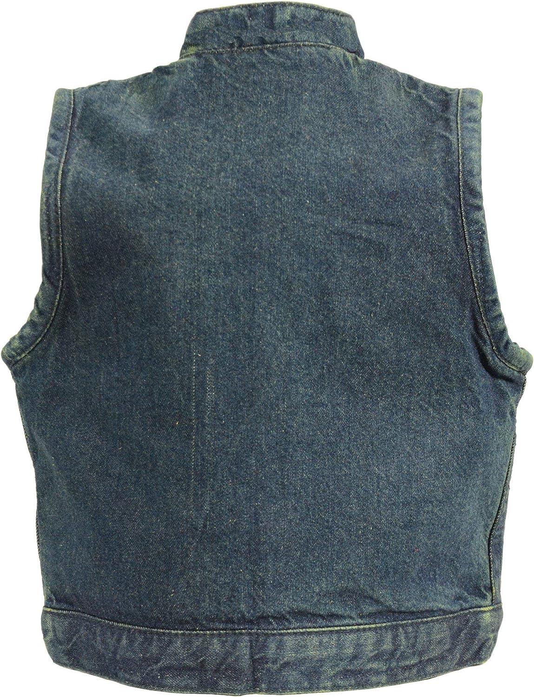 2X-Large Milwaukee Leather MDK3920 Kids Black Denim Club Style Snap Front Vest
