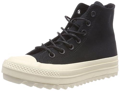 Womens CTAS Lift Ripple Hi Natural Fitness Shoes, Black, 3.5 UK Converse