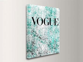 Quadro moderno cubierta magazine vogue grunge azul impresión