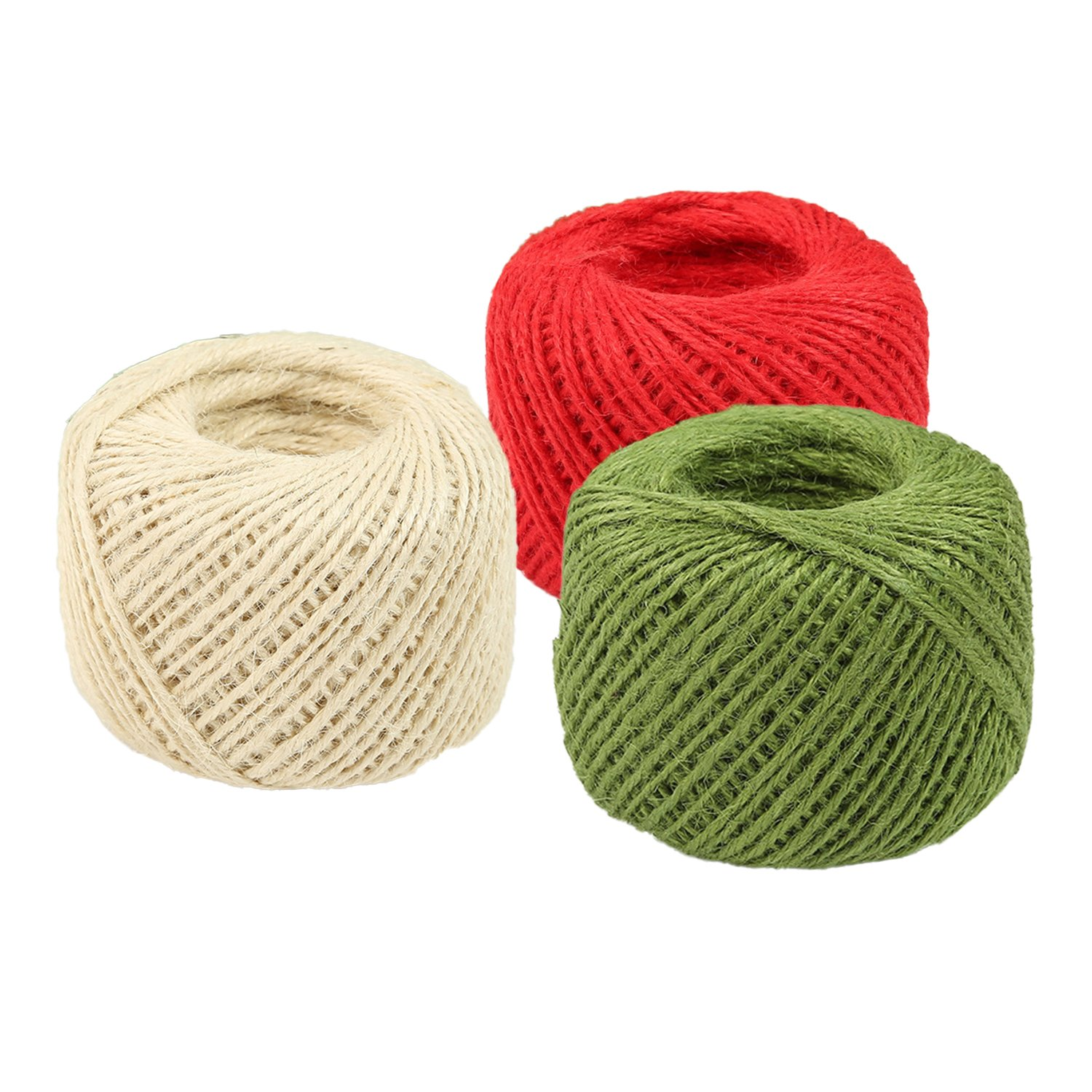 Coxeer 3 Roll Jute Twine Jute String Natural Handmade Colorful Jute Rope for DIY Art Craft Gift Wrapping