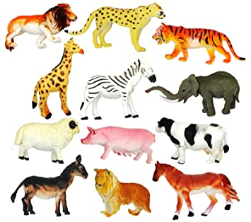 Wild Jungle Safari And Farm Animals Toy Figures 12pk Lion Zebra