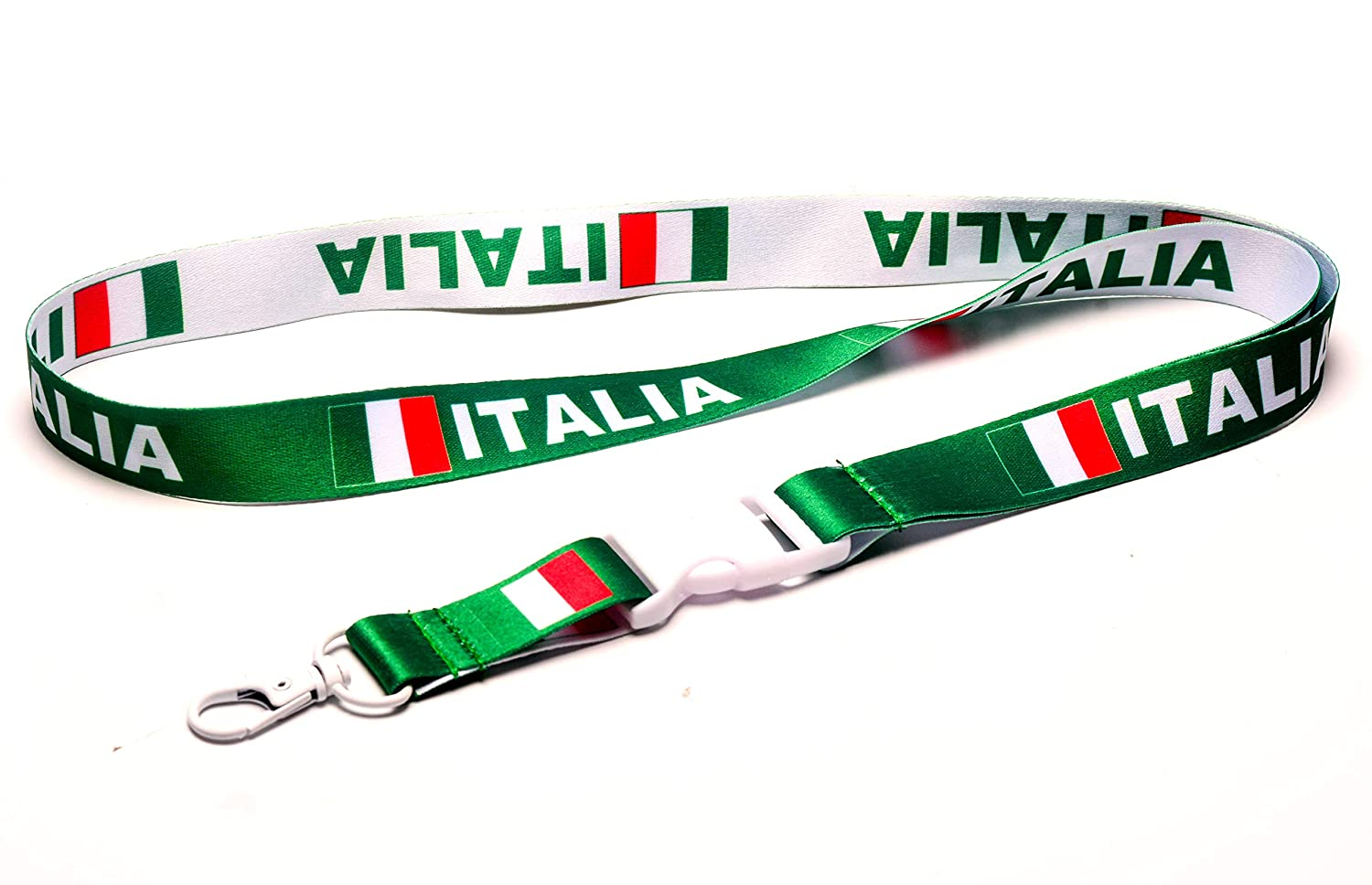 Italia/Italy Flag Reversible Lanyard Keychain with Quick Release Snap Buckle and Metal Clasp - ID Lanyard for Keys, Badges, Whistle - ID Holder ...