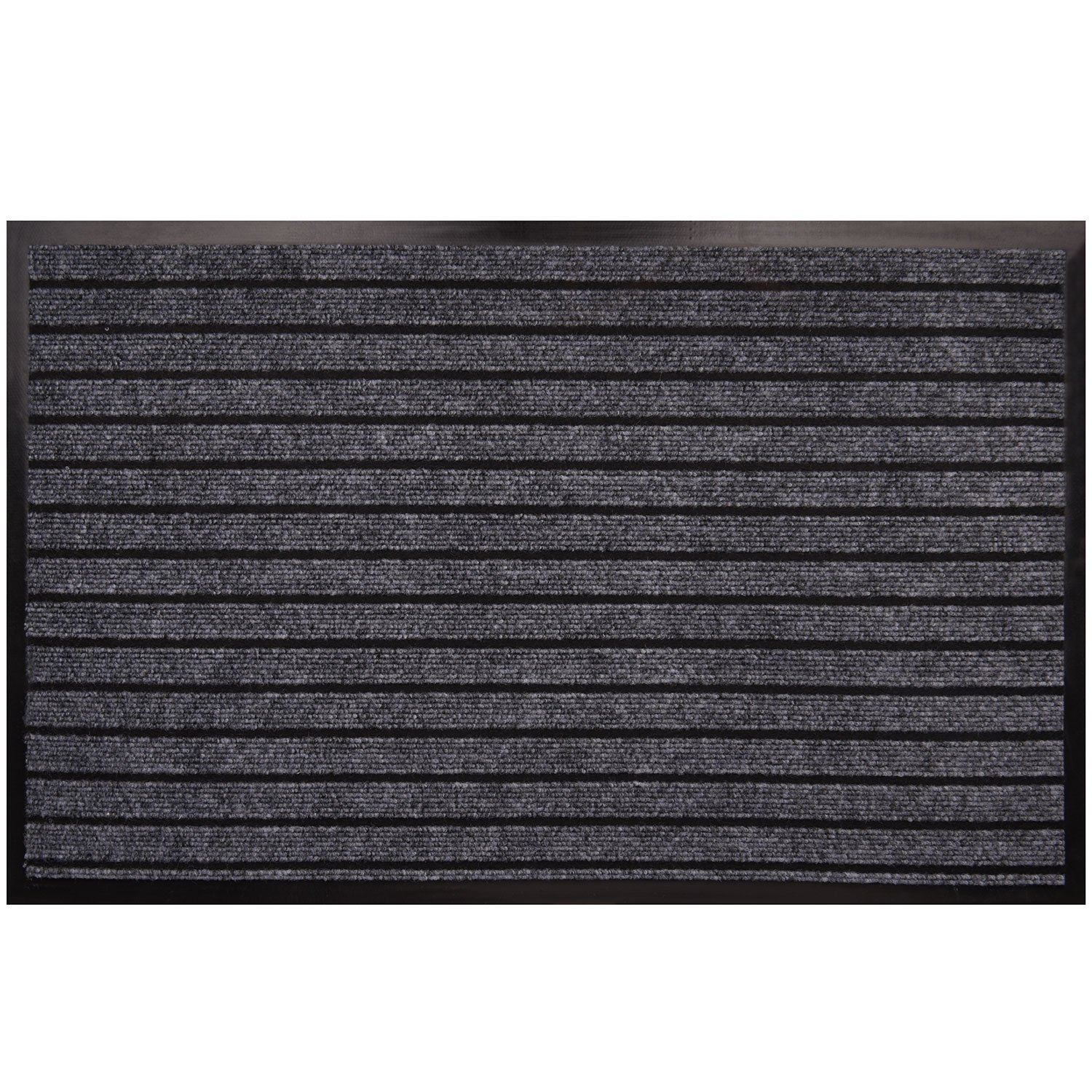 "Goodxin XX1-3 Indoor Outdoor Mats Rubber Entrance Doormat Dirt Debris Mud Trapper Waterproof Out Door Mat Low Profile Washable Carpet (31.5""X20"", Light Grey)"
