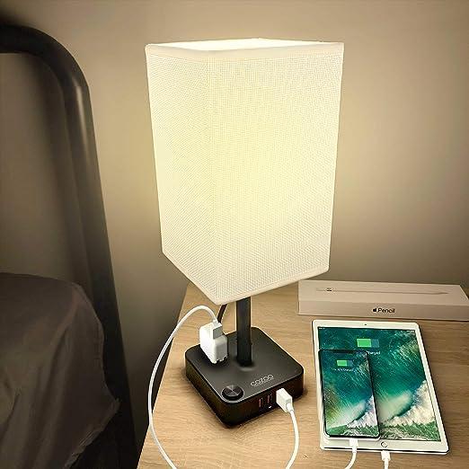 Mesa de noche y lámpara de escritorio Cozoo USB con 3 puertos de ...
