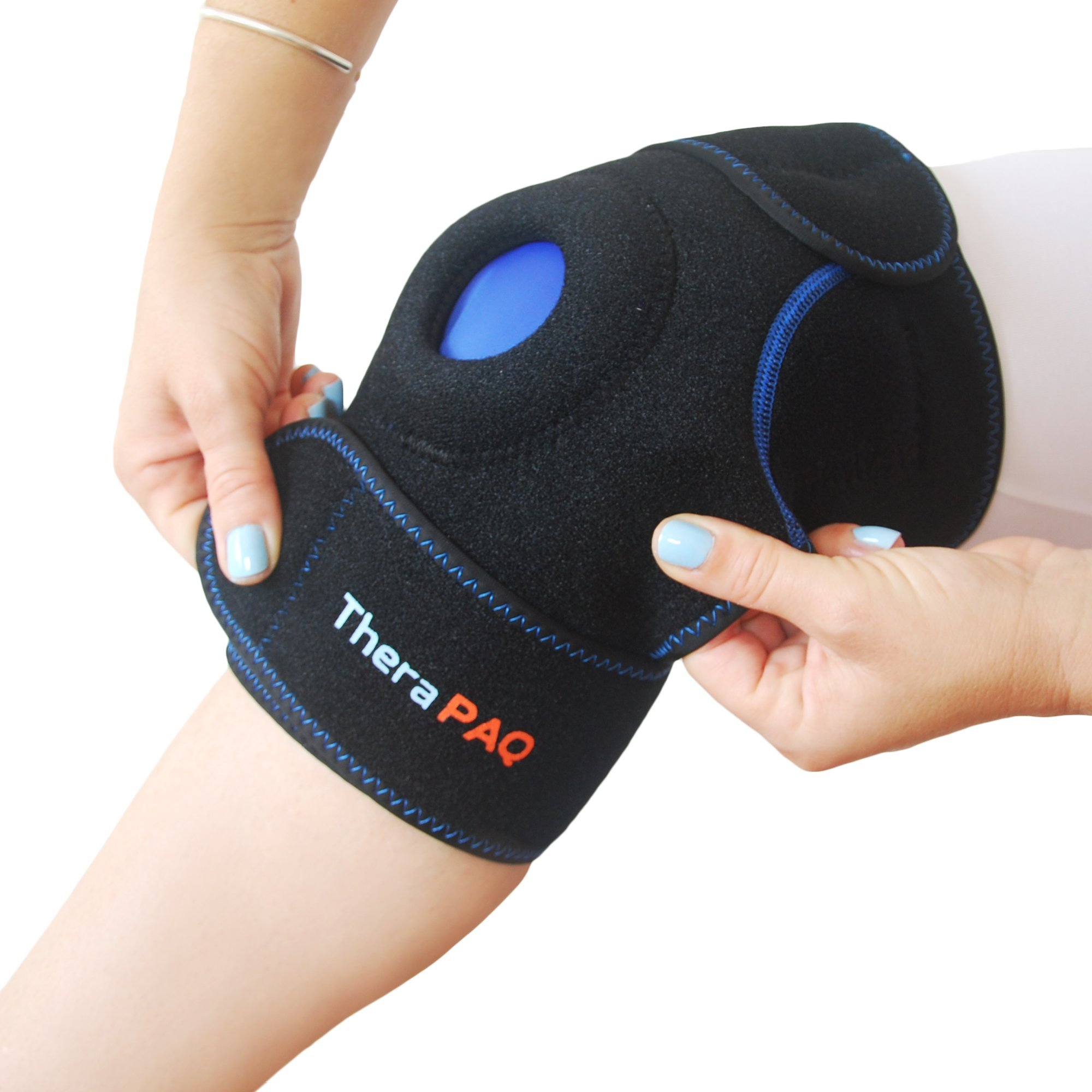 Knee Ice Pack Wrap by TheraPAQ: Hot & Cold Therapy Knee Support Brace - Reusable Compression Sleeve for Bursitis Pain Relief, Meniscus Tear, Rheumatoid Arthritis, Injury Recovery, Sprains & Swelling by TheraPAQ