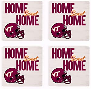 Home Sweet Home Virginia Tech NCAA 4 x 4 Absorbent Ceramic Coasters Pack of 4