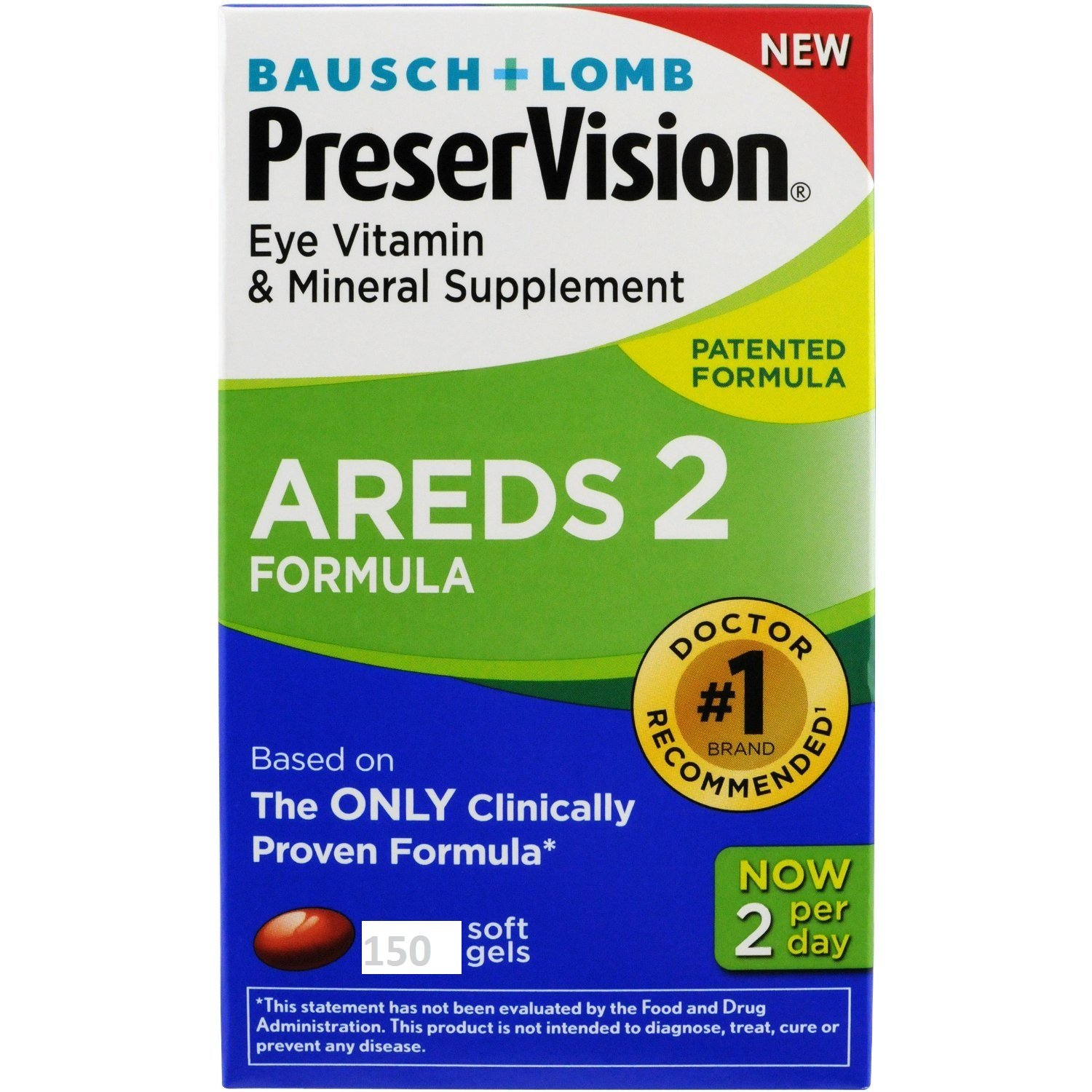 Bausch and Lomb PreserVision AREDS 2 Formula Eye Vitamin and Mineral Supplement – 150 Softgels