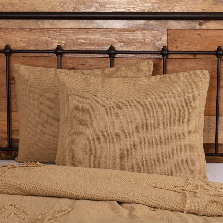 VHC Brands Burlap Natural Bedding Accessory, Standard Sham 21x27, Tan