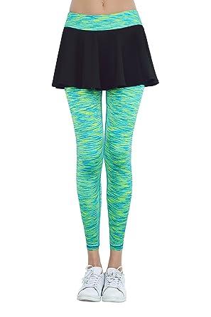52197a9be1 HonourSport Women's Full Length Yoga Skirted Leggings Casual Gym Tennis  Skort(Colorful Green,L