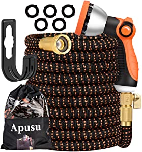 "Apusu Expandable Garden Hose 50FT-Garden Water Hose with 10 Function Nozzle Zinc Alloy/Durable 3750D and 4-Layers Latex, Lightweight Flexible Water Hose Pipes with 3/4"" Solid Brass Fittings"