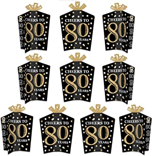 product image for Big Dot of Happiness Adult 80th Birthday - Gold - Table Decorations - Birthday Party Fold and Flare Centerpieces - 10 Count