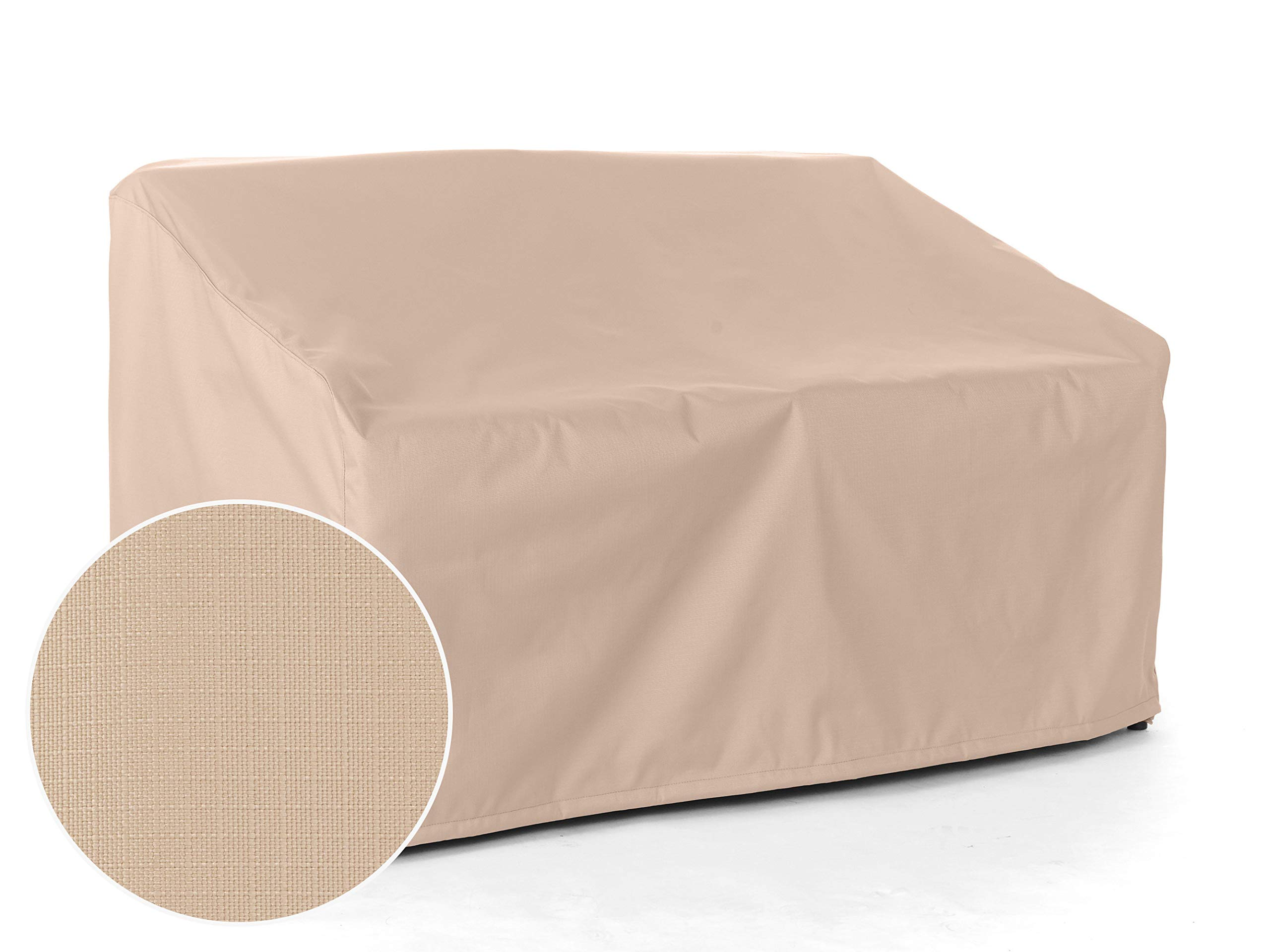 CoverMates - Outdoor Patio Bench Covers - Fits 58 in Width, 40 in Depth and 40 in Height - Ultima Ripstop - 600D Fade Resistant Poly - Breathable Covered Ventilation - 7 YR Warranty - Ripstop Tan by CoverMates (Image #8)