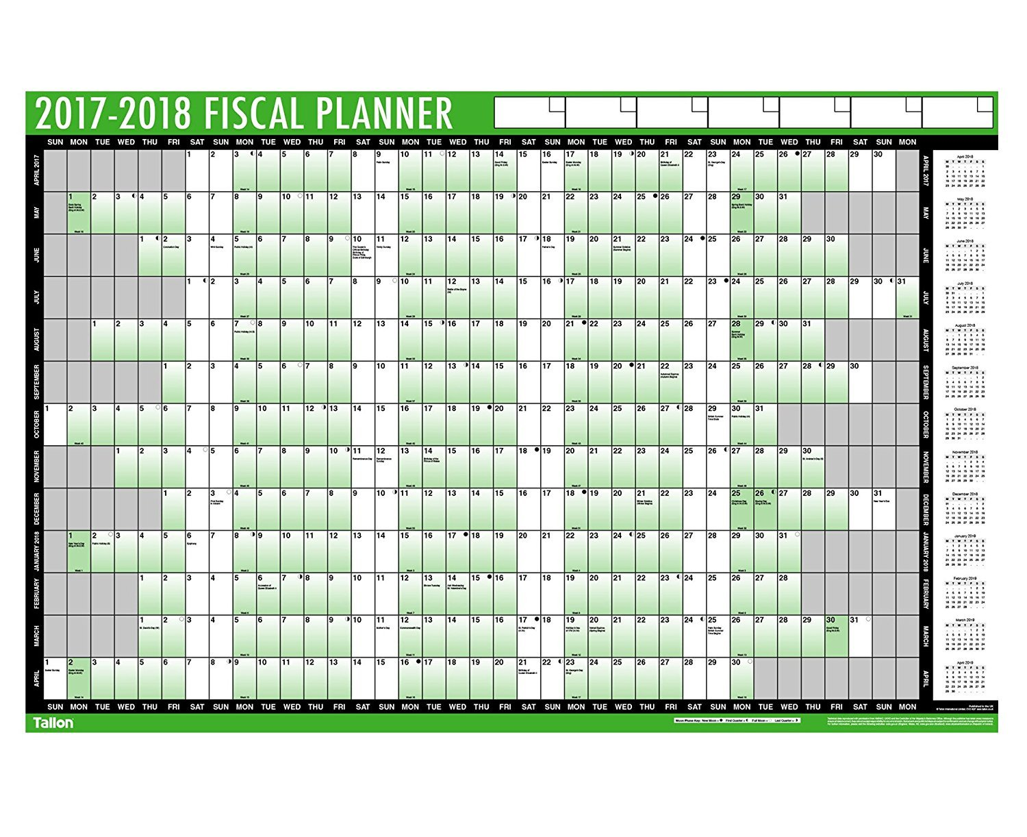 financial 2017 2018 fiscal wall planner calendar with pen and financial 2017 2018 fiscal wall planner calendar with pen and adhesive dots 3800 amazon co uk office products