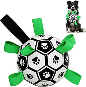 Dog Soccer Ball - Dog Ball Toys Dog Tug Toy with Upgrade Grab Taps, Interactive Dog Toy Fun Dog Water Toys, Lightweight Herding Ball for Small Medium Large Dogs