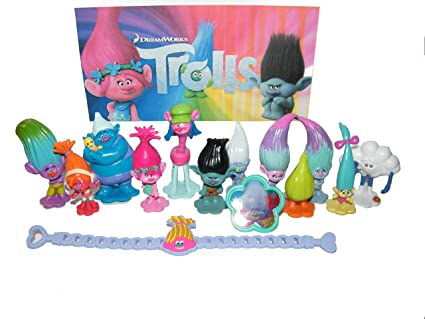 Amazon Com Dreamworks Trolls Movie Deluxe Figure Toy Set Of 14
