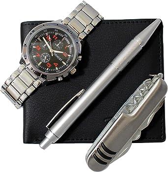 Chtime - Caja con reloj de hombre + cartera + bolígrafo + cuchillo de regalo: Amazon.es: Relojes