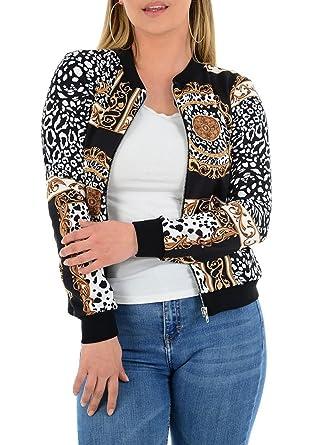 3f1e8f3aef2b MA ONLINE Ladies Leopard Circle Scarf Print Bomber Jacket Top Womens Zip up  Blazer Jacket Leopard