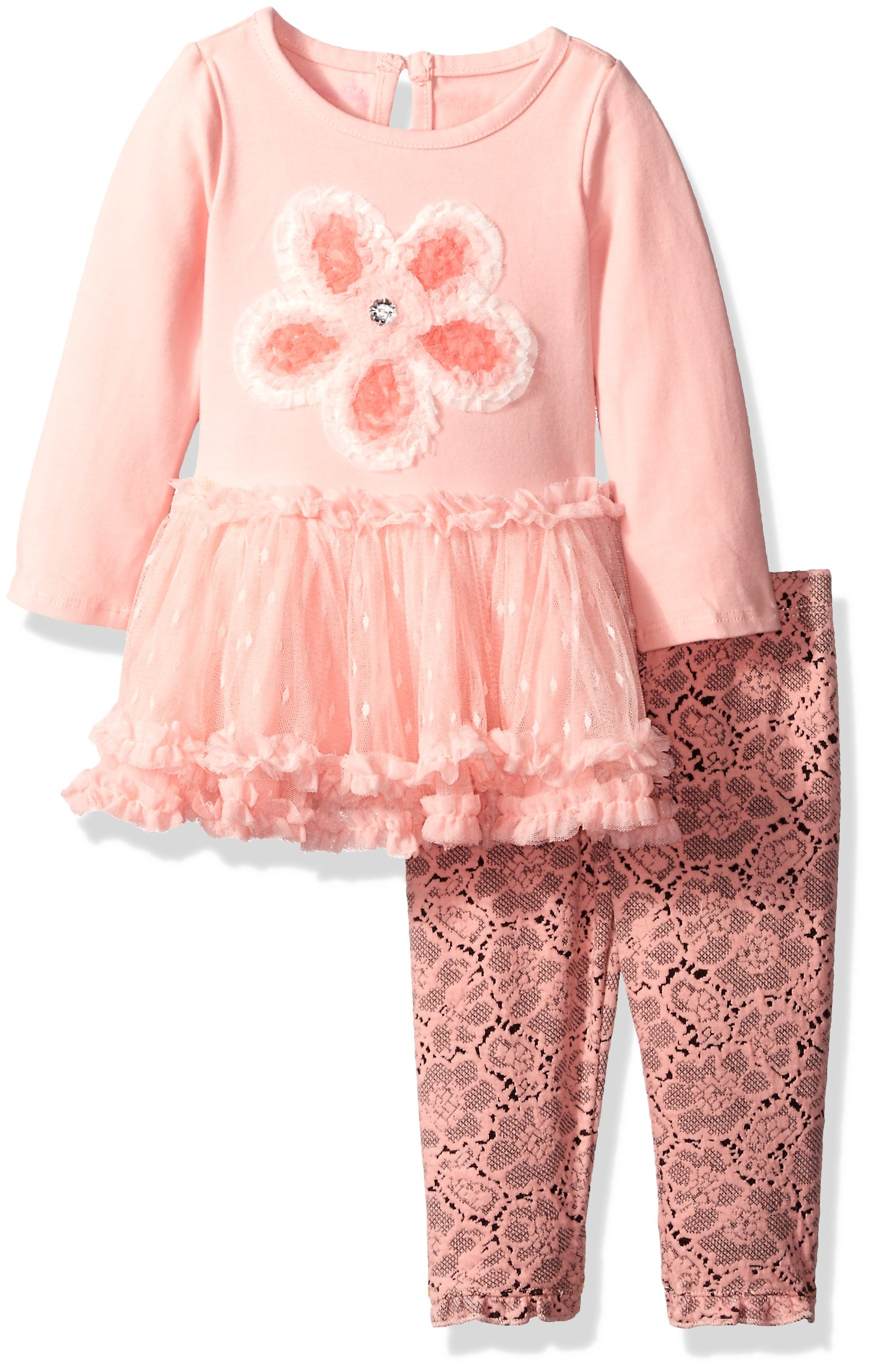 Nannette Baby Girls' 2 Piece Knit Tunic Mesh Skirt and Legging, Coral, 24 Months