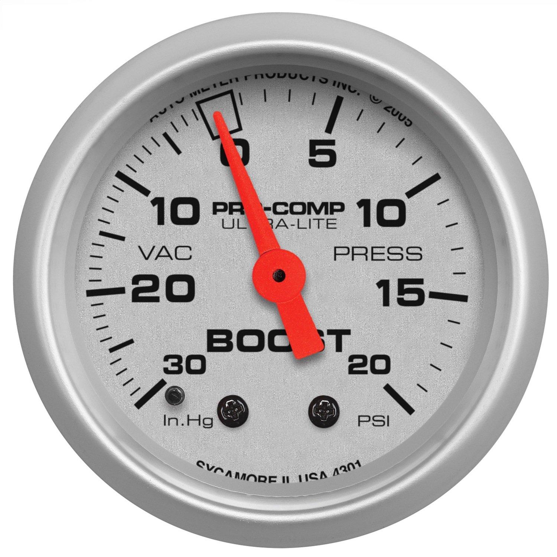 Auto Meter 4301 Ultra-Lite Mechanical Boost/Vacuum Gauge