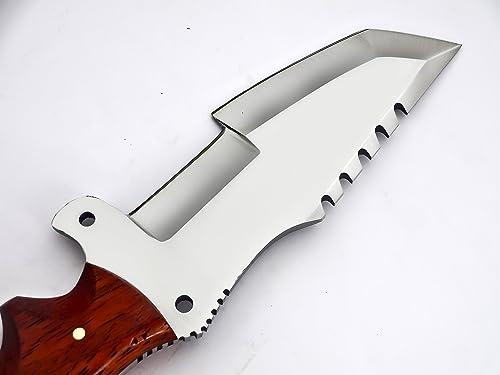 Poshland TR-21500- Custom Handmade D2 Tracker Knife- RED Wood Handle