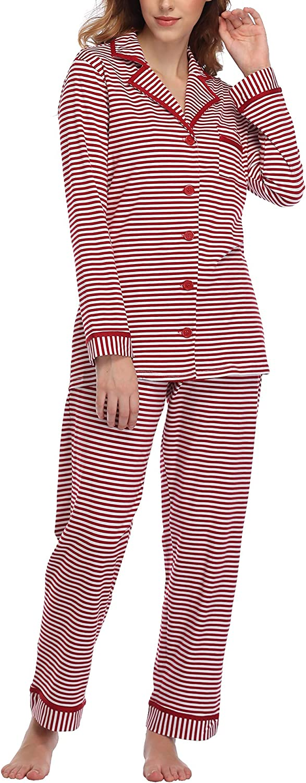 Pigiama Donna con Bottoni Lungo Pigiama a Righe Pigiami Due Pezzi Donna Sleepwear con Tasche Aranmei Pigiama Donna Inverno in Cotone 100/%