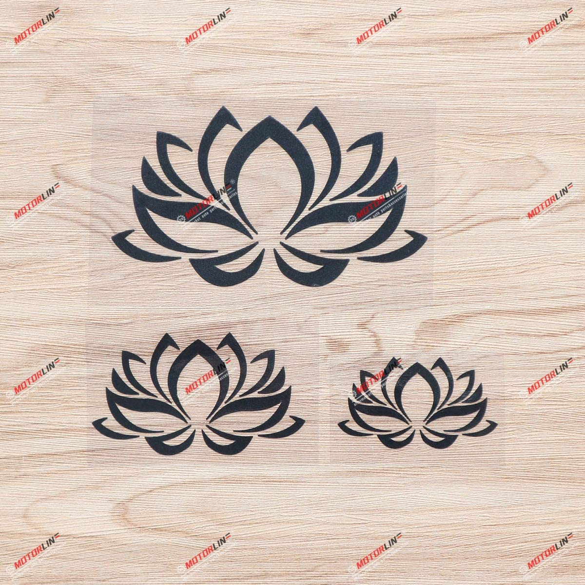 Lotus Flower Yoga India Vinyl Decal Sticker - 3 Pack Black, 3 Inches, 4 Inches, 6 Inches - Style B No Background for Car Boat Laptop Cup Phone