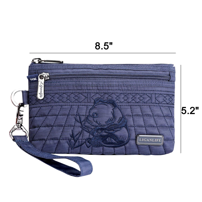 LIGANLIFE Women's Clutch Bag Water Resistant Polyester Wristlet Bag Rfid Protection (Royal blue) by LIGANLIFE (Image #6)