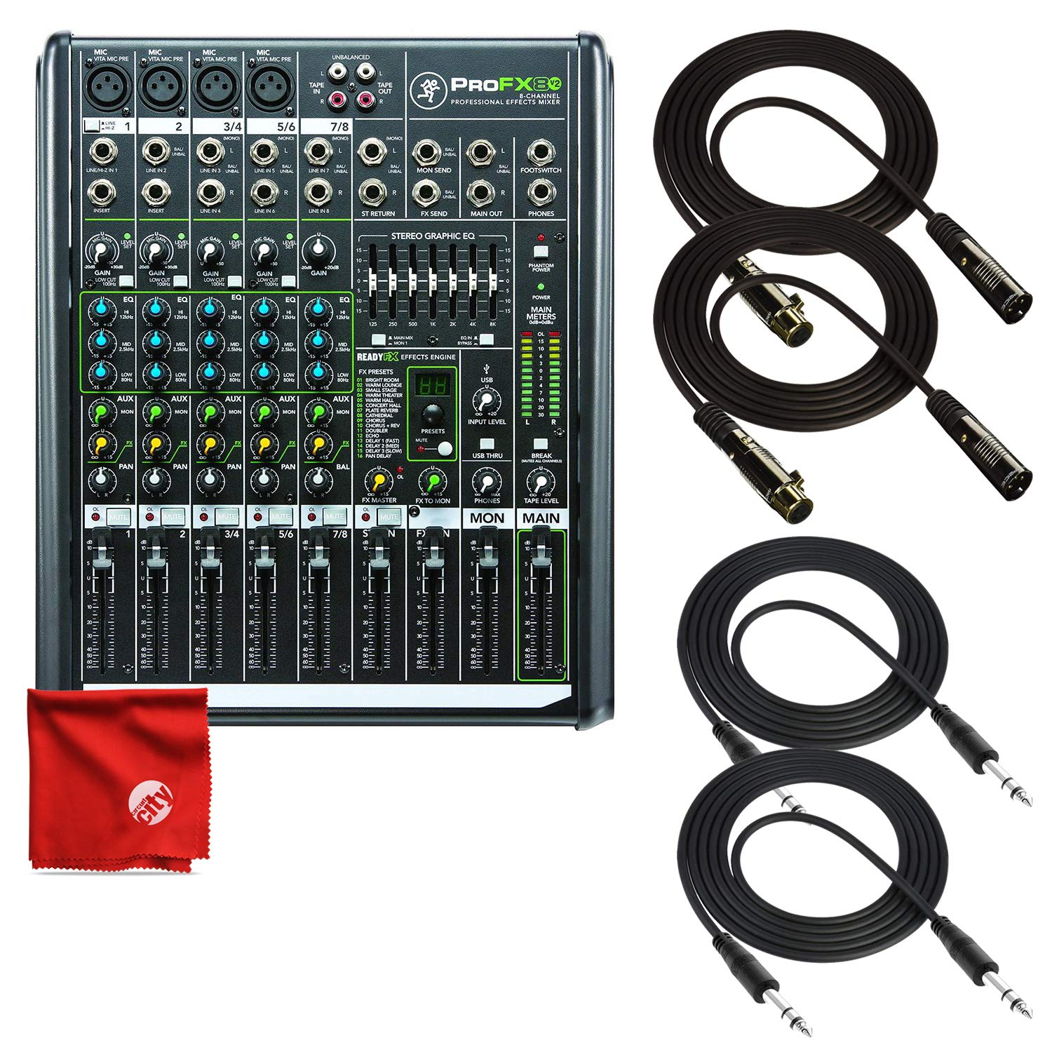 Mackie PROFX8V2 8-Channel Compact Mixer with Effects Bundle Including + 2X TRS Cables + 2X XLR Cables + Microfiber Cleaning Cloth