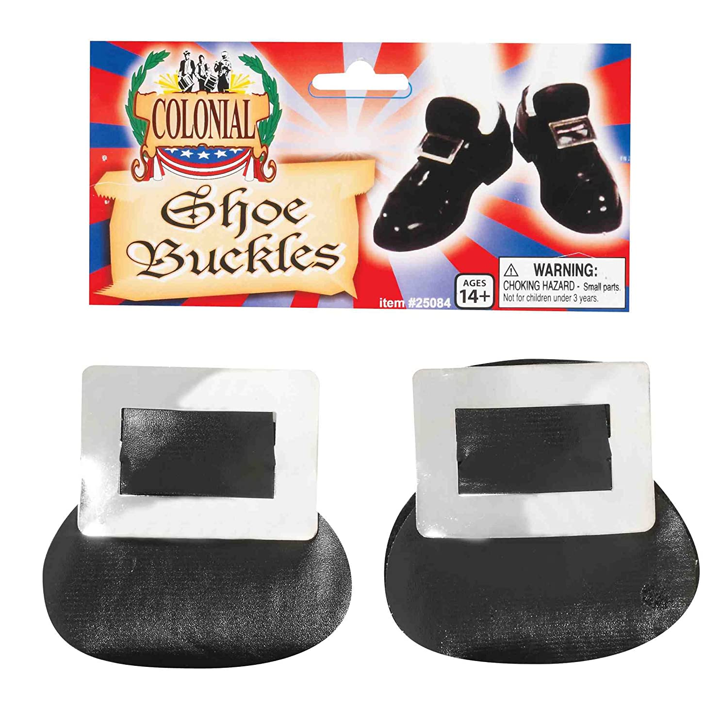 Forum Novelties Colonial Christmas Silver Shoe Buckles One Size 25084