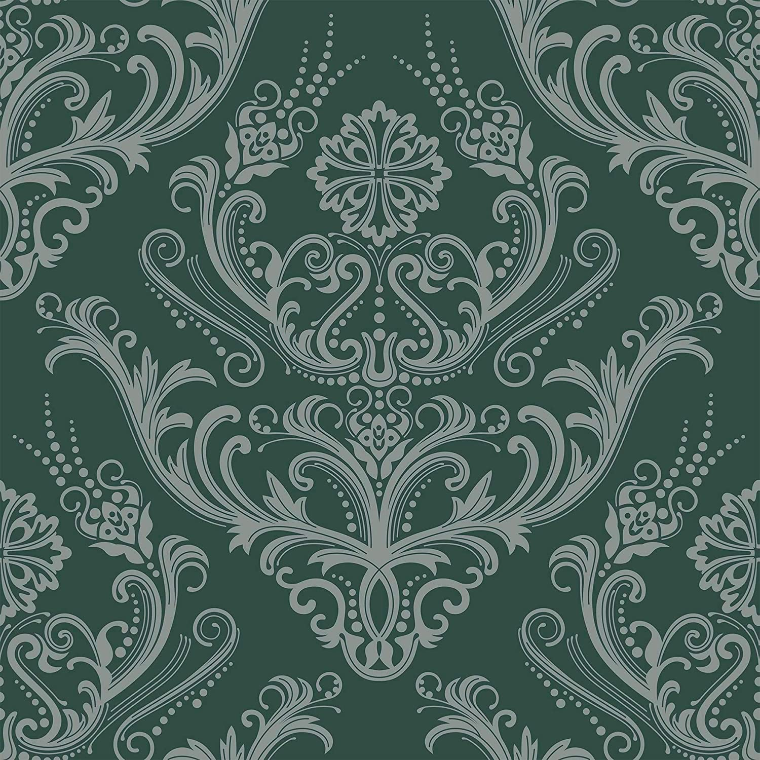 Wallsbyme Peel And Stick Green Damask Basic Fabric Removable Wallpaper 6296 2ft X 8 5ft 61x260cm Amazon Com