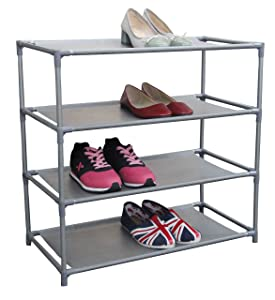 Home Basics Multipurpose 12 Pair Non-Woven Free-Standing Shoe Rack (4-Tier)