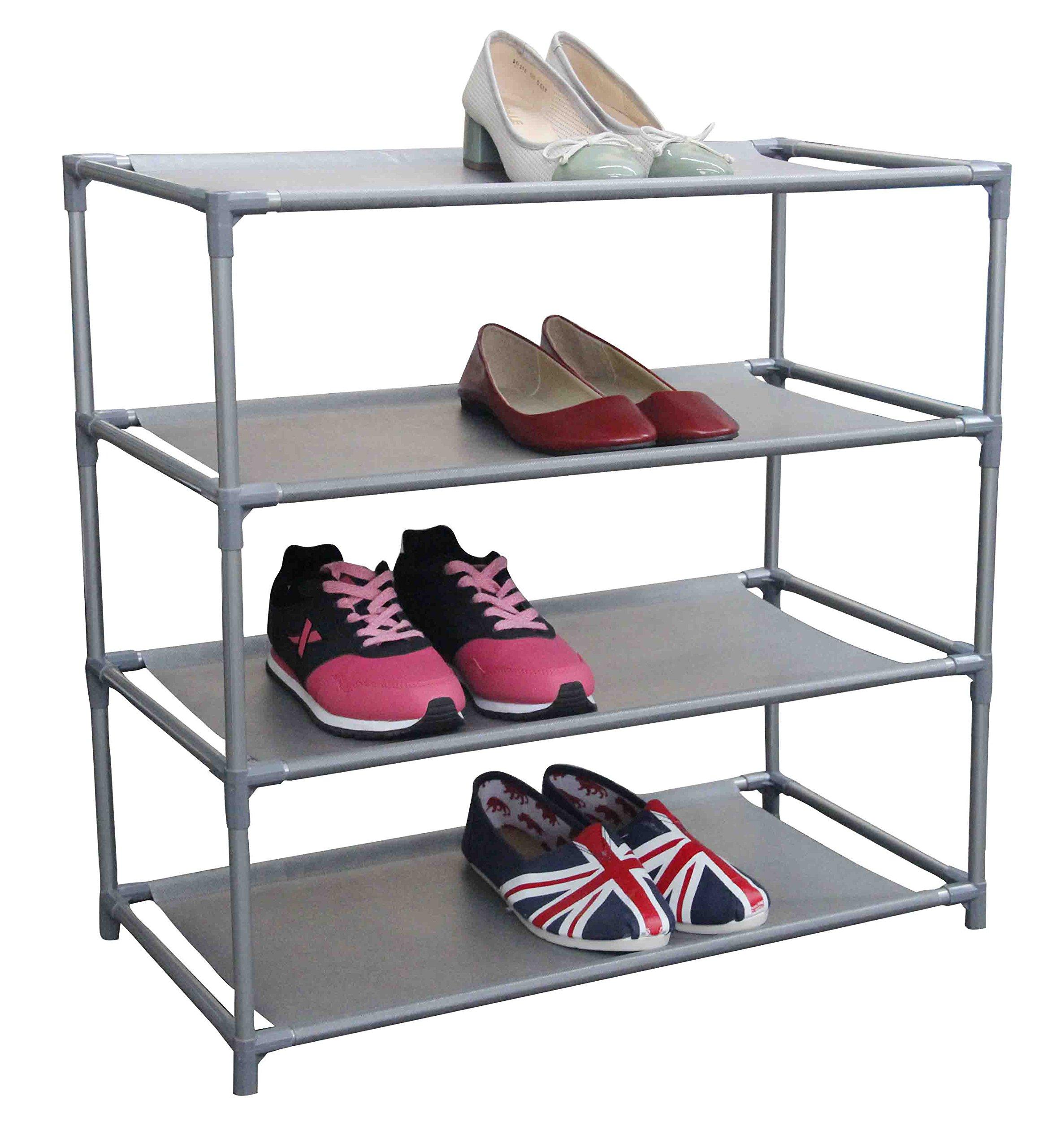 Home Basics Multipurpose 12 Pair Non-Woven Free-Standing Shoe Rack (4-Tier)
