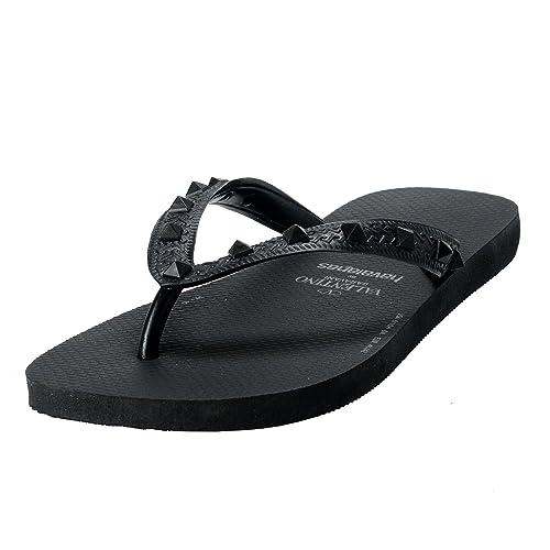 5ff3ffde15d Valentino Garavani By Havaianas Men s Rockstud Black Flip Flops Shoes US  6 7 EU 39