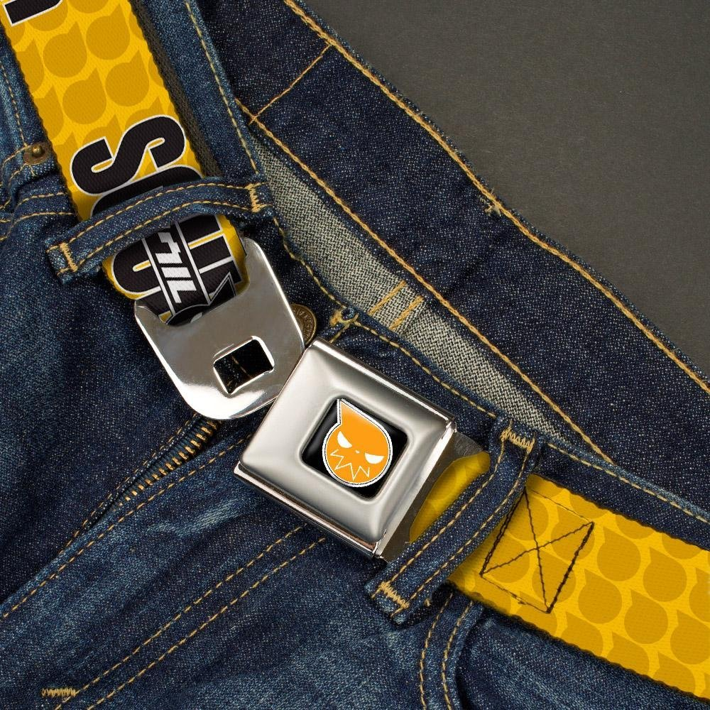 1.0 Wide SOUL EATER//Logo Monogram Yellows//White//Black 20-36 Inches in Length Buckle-Down Seatbelt Belt