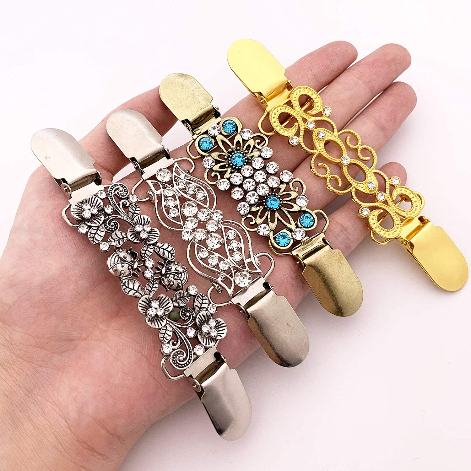 XGALA 4 Pieces Vintage Retro Cardigan Collar Sweater Shawl Retro Cardigan Collar Clips Dress Shirt Brooch Clips for Women Girls