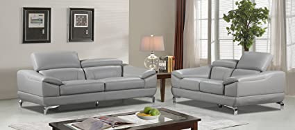 Beau Cortesi Home Vegas Genuine Leather Sofa U0026 Loveseat Set With Adjustable  Headrests, ...