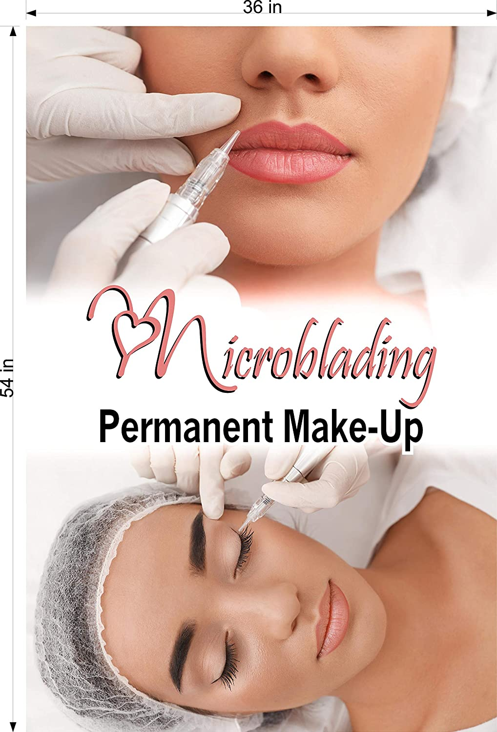 , 54 NAILSIGNS.com Microblading XV Salon Service Sign Marketing Poster Permanent Makeup Salon Ad Vertical Indoors Photo-Realistic Paper Poster Matte Non-Laminated