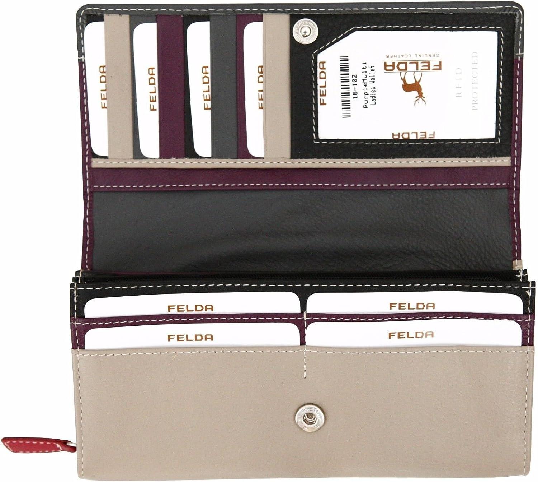 Felda RFID Genuine Leather Long Ladies Purse Wallet 19 Card Slot /& Zipped Coin