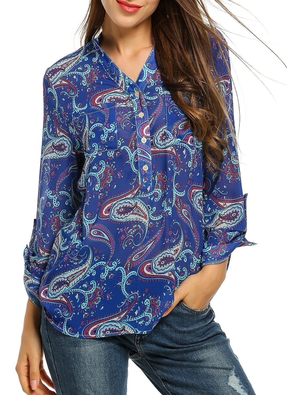 Zeagoo Womens Chiffon Blouses Casual Cold Shoulder Long Sleeve Blouse Shirt Tops