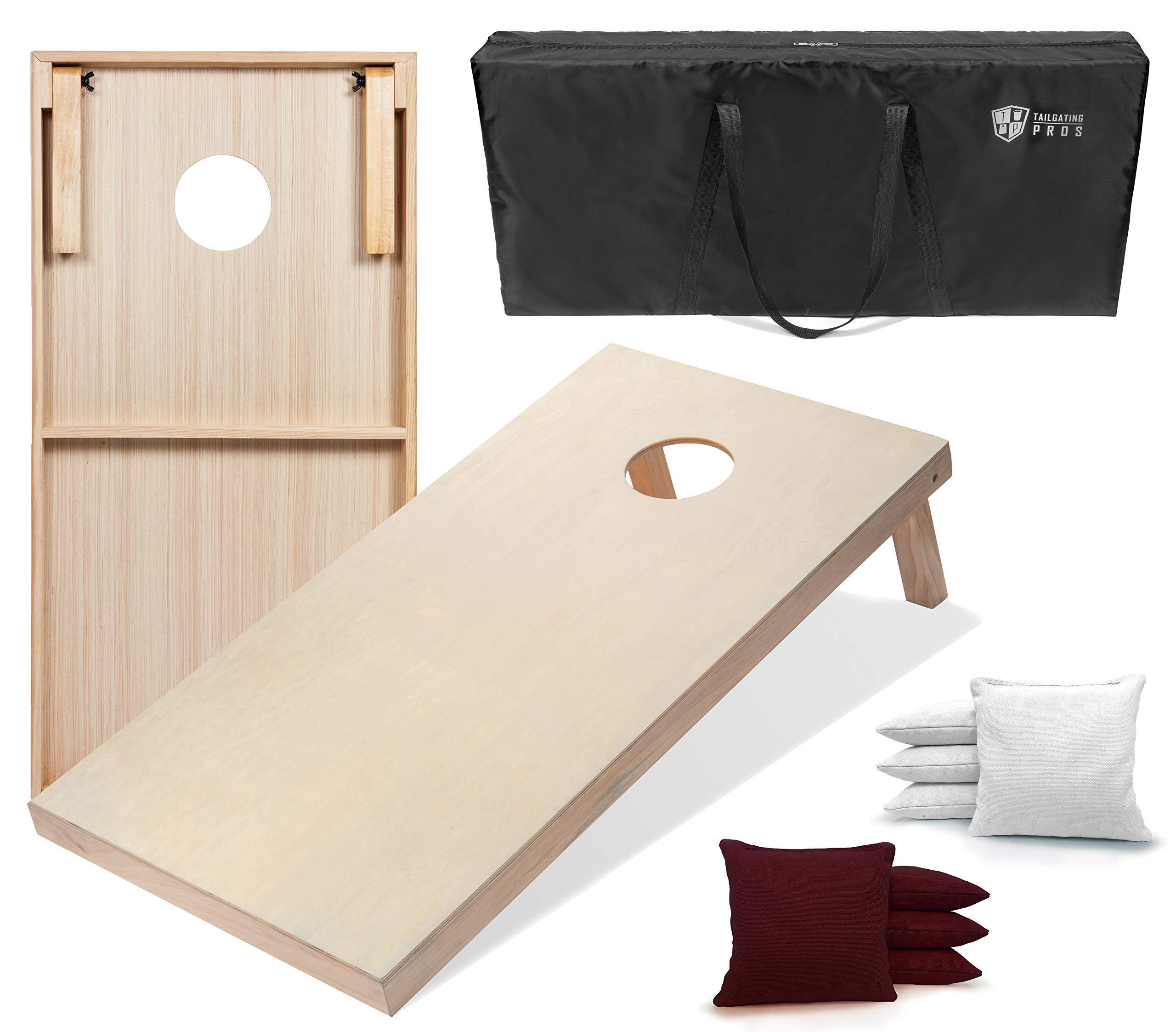 Tailgating Pros 4'x2' & 3'x2' Cornhole Boards w/Carrying Case & Set of 8 Cornhole Bags (You Pick Color) 25 Bag Colors! (Maroon/White, 4'x2' Boards) by Tailgating Pros